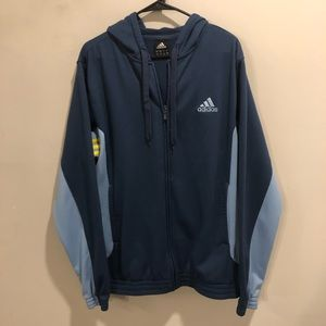 Adidas hoodie navy blue polyester yellow striped